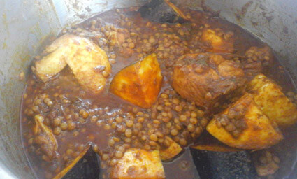 lentil curry with chicken & brenjal