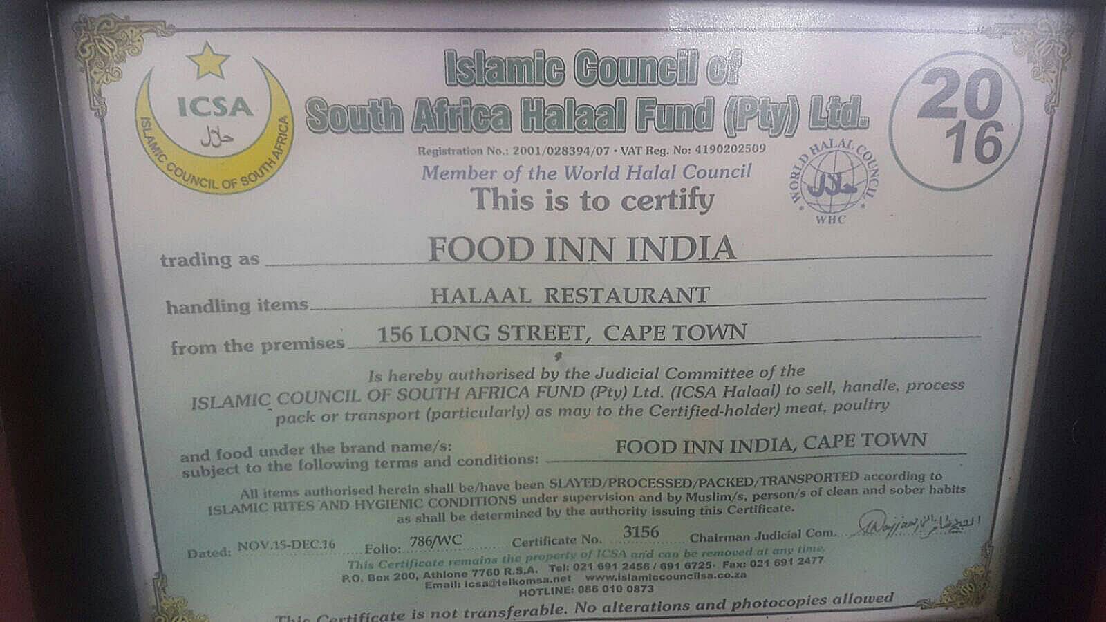 Food Inn Certificate