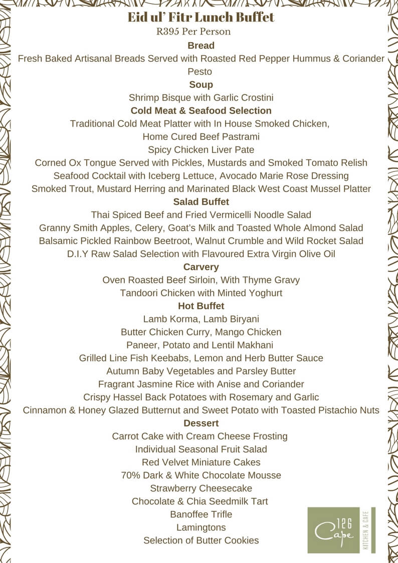 126 Cape Kitchen and Cafe Eid Lunch - Menu