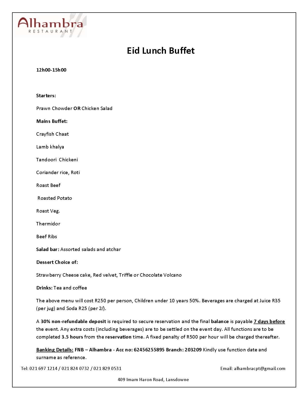 Alhambra 2017 EID Lunch Buffet Menu