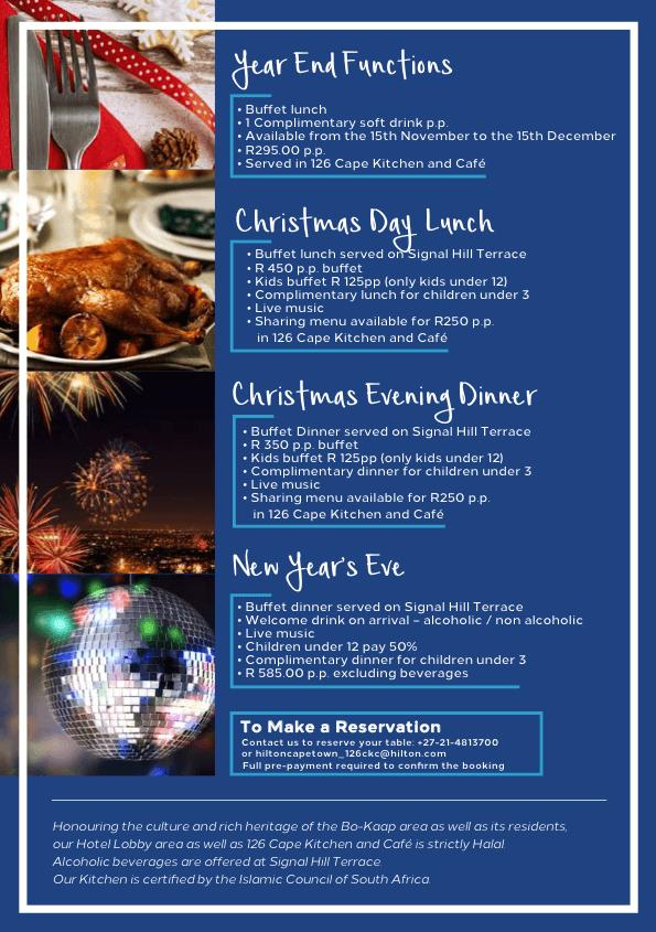 Hilton Hotel Christmas Menu 2021 Cape Kitchen Booking