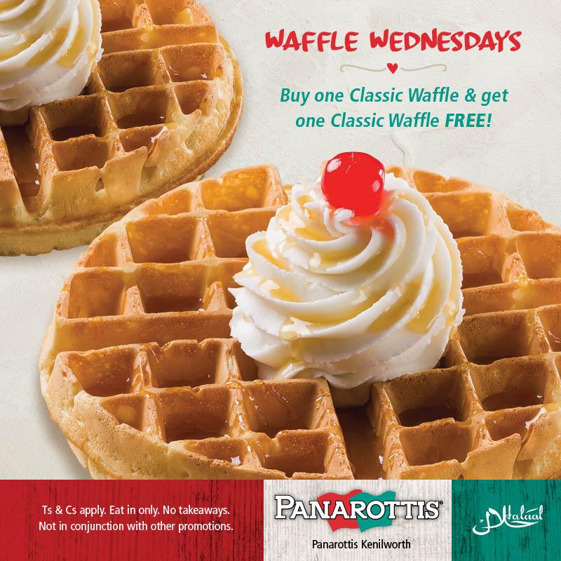 Buy One Get One FREE!! Waffle Wednesdays at Panarottis Kenilworth Centre