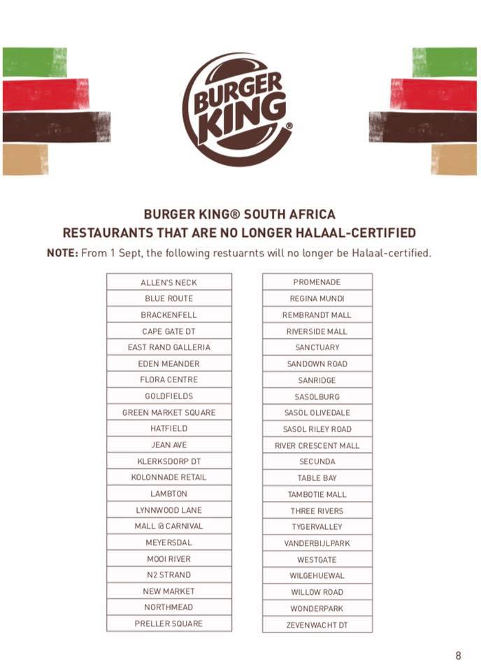 Burger King restaurants South Africa that are no longer halaal.