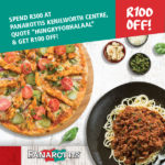 R100 off when you spend R300 at Panarottis Kenilworth Centre and quote HungryforHalaal